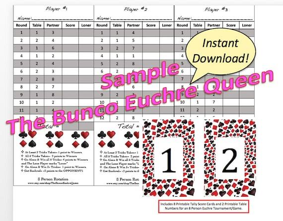 8 Person Euchre Rotation Printable Score Sheet Score Card – Euchre Score Card Template