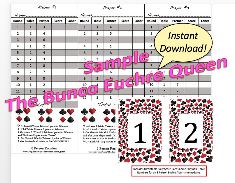 8 Person Euchre Rotation Printable Score Sheet / Score Card /