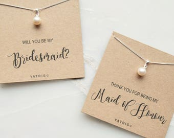 Bridesmaid Freshwater Pearl Necklace - Bridesmaid Gift - Maid of Honour Gift - Thank you Bridesmaid Gift - Personalised Gift
