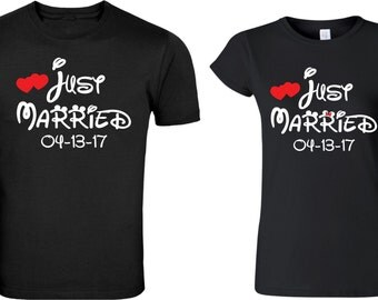 Just Married Mickey & Minnie matching cute designs Custom Date for newly married Couple T-Shirts Valentine