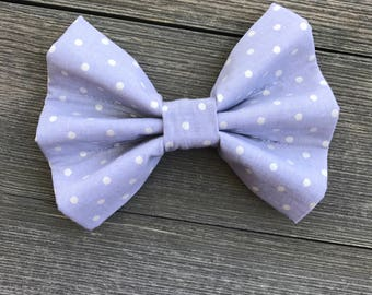 Gray & Pearl Dots Bow Tie