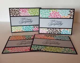 Set of 4 Handmade Sympathy Cards (Can be blank inside OR with saying pictured)