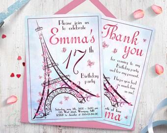 Paris Birthday Invitation-Teen Invitation-Girl Invitation-Eiffel Tower invitation-French invitation-Thank you-Printable-Custom invitation