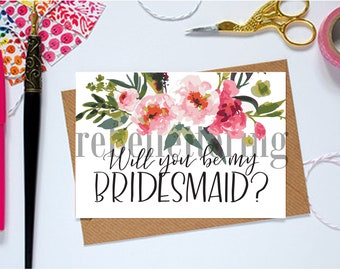 Will you be my bridesmaid? | Cards for bridal party for bridesmaids and maid of honor | Floral notecards | Digital downloads to print | 4x6