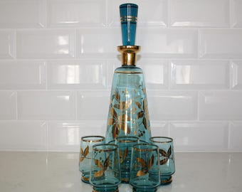 Retro Blue Glass Decanter and 5 glasses