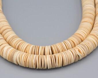 "400+ Shell Beads Heishi Vintage Organic Boho 16MM 16"" Strand"