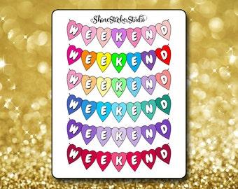 Weekend Heart Banner Stickers - Heart Weekend Banner Planner Stickers Erin Condren Life Planner Stickers ECLP Stickers Happy Planner