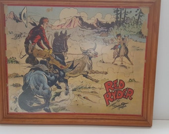 Vintage Red Ryder Puzzle in Picture Frame