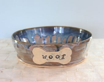 "Stoneware ""woof"" dog bowl 