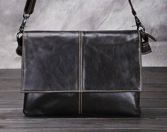 Hand Made Leather Handbag Satchel Tan Portfolio Messenger Real Leather Saddle Bag Tablet / Ipad