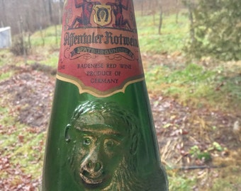 Vintage 1953 German Affentaler Rotwein Figural Wine Bottle