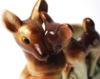 Vintage Mother and Baby Deer Ceramic Planter