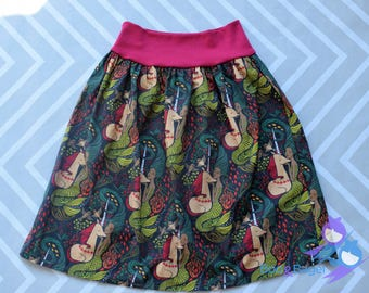 Mermaid Unicorn Skirt, Womens, Lady Skater Skirt, Knit yoga waistband, dress, cotton