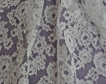 "White French Alencon Bridal Lace Fabric 33"" wide SOLD/Priced by the 1/2 yard"
