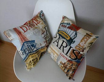 Cushion cover in the grounds of Paris, the Eiffel Tower and Montmartre in the vintage style