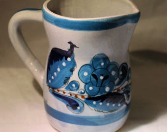 Blue Pottery Pitcher * Handpainted in Mexico