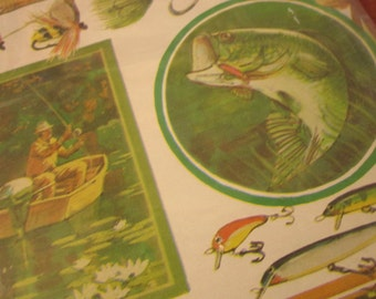 Vintage Gift Wrap Fish Fishing Hunting