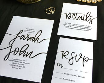 Classic Black and White Wedding Invitations | Wedding Invitations | Wedding Stationery | Black and White Invitations | Elegant Invitations