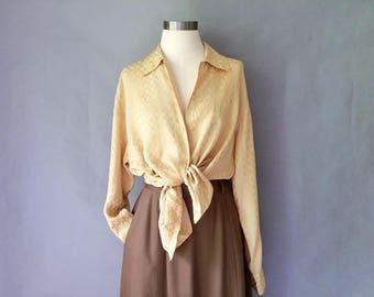 Vintage 100% silk button down blouse shirt top tunic size S/M/L