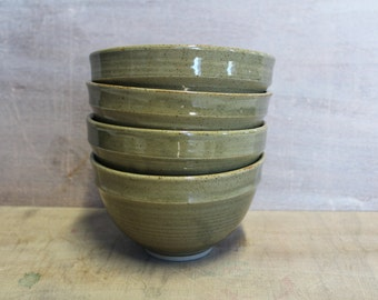 Cereal Bowl with Green Celadon glaze, Handmade Pottery, Hand crafted Ceramics