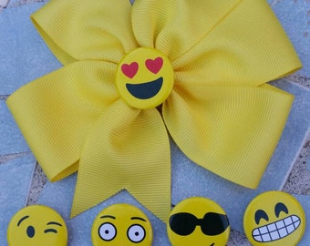 Emoji bow, emoji hairbows, emojis, smiley faces.
