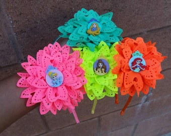 Princess headbands, disney princess headbands, bright color headbands, cinderella headbands, belle headbands, little mermaid headbands,