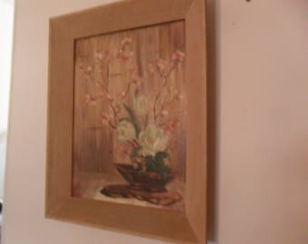 Vintage Floral Painting on Board by M. Firle 1961 Framed