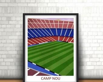 Camp Nou Barcelona F.C. Stadium Print Artwork Barca, Football Home Decor, Boys Room, Mancave Art, Spanish Footy
