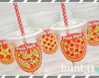 Set of 10 or 20 Pizza Party Cups, Lids & Straws, Favor Cups, Snack Cups, Ice Cream Cups