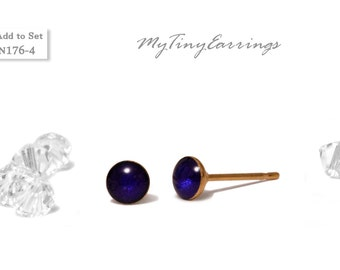 Dark Navy Blue 4mm Stud  Earrings Round Epoxy Resin Mini Gift for Her Gift for Him Gold Plated Stainless Steel Posts  N176-4