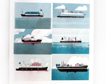 Poster Container SHIP / Boats | Print / Art Print / Wall Art / Risograph Print / Riso / A3 size | MERMADE