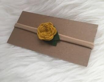 Mustard Felt Rose Nylon Headband
