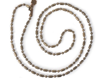 """Fancy Ball Chain 24"""" Necklace - Antiqued Imitation Gold (IP063)"""