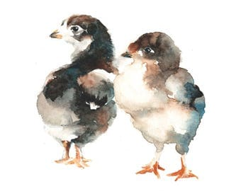 Baby Chicks Watercolor Painting Fine Art Giclee Print / Bird Painting / Flower Watercolor Painting / Wildlife Paintings