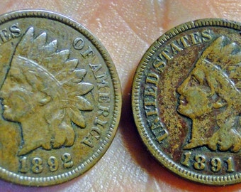 2 Early Indian Cents - 1891 & 1892 Indian Cents - Indian Pennies - Nice!