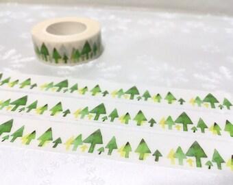 green Tree washi tape 10M Green forest Green garden Masking tape Green world scenes tree landscape green landscape scenes green sticker tape