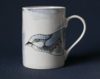 Mug Porcelain Bird illustrated drinking mug Unique Gift the sky  blue  Hand painted Brunch timeTriangle Geometry Coffee as watercolor