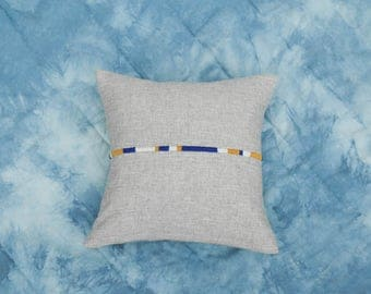 Hand-embroidered pillow - organic hemp and yack wool - French virgin wool - cushion 15''7 X 15''7 - unique piece - slow made in France
