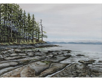 gabriola island, rob miller art, british columbia, canadian art, small landscape, seascape, beach painting, original art, bc painting