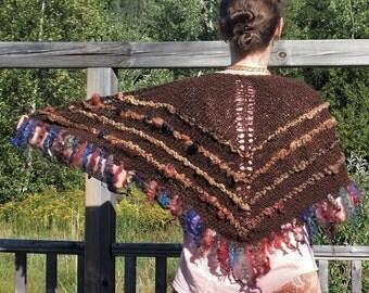 Art Yarn Shawl, Hand knitted alpaca silk shawl, wool shawl, art yarn shawl