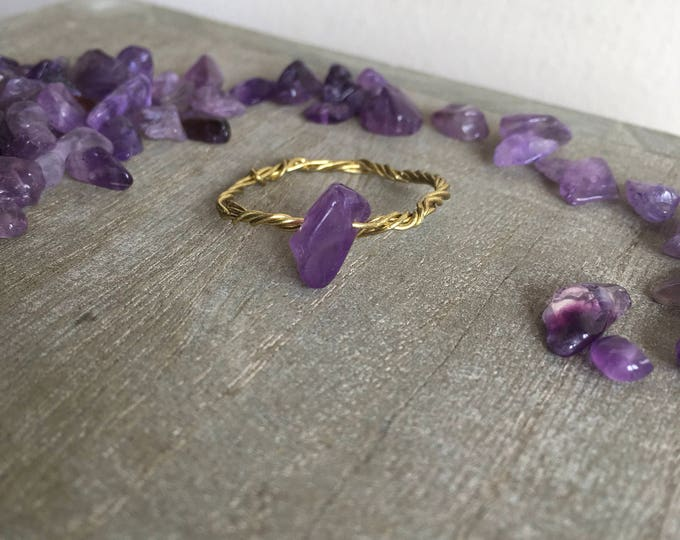 Simple rope style  amethyst ring