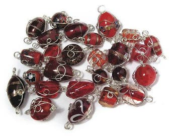 Ruby glass beads with silver wire, from 12 to 25 mm RAY-3314100815