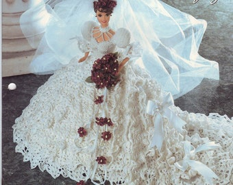 230. Bridal Barbie fashion doll dress-crochet pattern in pdf