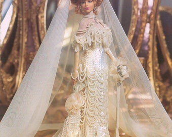 239. Bridal Barbie fashion doll dress-crochet pattern in pdf