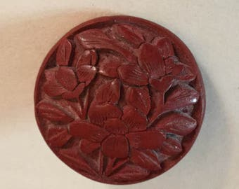 Carved Cinnabar Flowers Antique Button Old Floral Asian