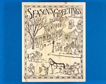 """Victorian Christmas Town Rubber Stamp - Street Scene with Sleighs and Snow - """"Seasons Greetings"""" by Delafield"""