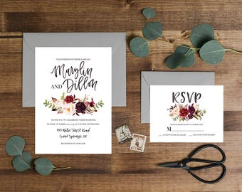 Wedding Invitation / Custom Wedding Invitation / Wedding Invite / Printed Invitation / Floral Invitation / Printable Invitation / Invitation