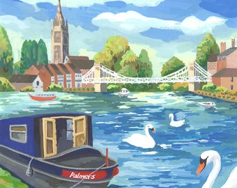 Art prints- River Thames, Marlow Painting / Marlow Bridge Painting