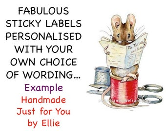 LITTLE MICE and Cotton Reel Personalised Printed Labels, Name & Address, Handmade by, Craft Labels, Birthday, Party Bags,Invitation Stickers