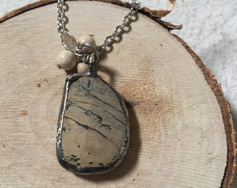 "Tan • organic • natural stone • soldered • necklace • pendant • neutral • 30"" chain necklace"
